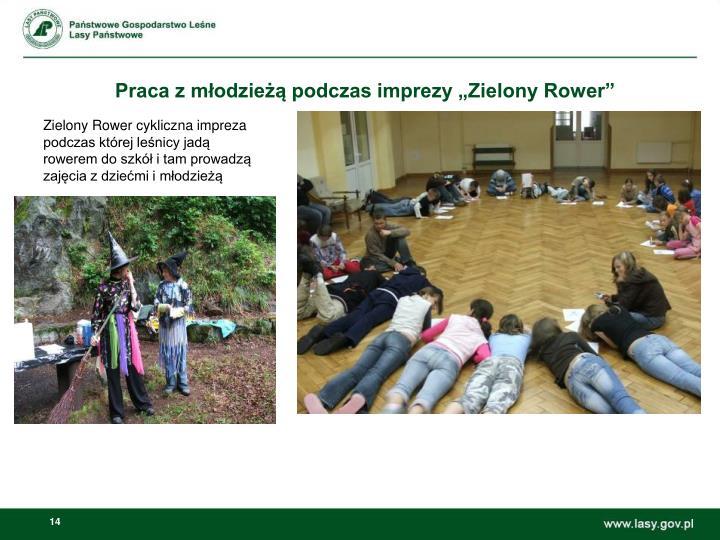 """Praca z młodzieżą podczas imprezy """"Zielony Rower"""""""