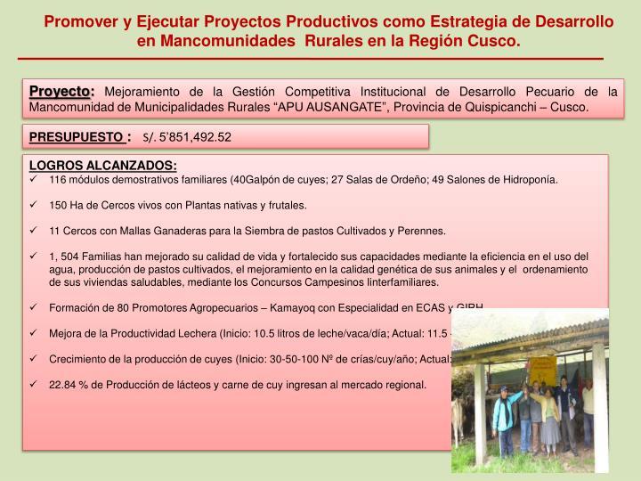 Promover y Ejecutar Proyectos Productivos como Estrategia de Desarrollo en Mancomunidades  Rurales en la Región Cusco.