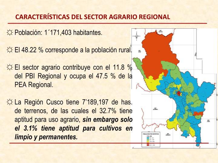 CARACTERÍSTICAS DEL SECTOR AGRARIO REGIONAL