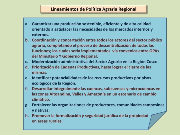 Lineamientos de Política Agraria Regional