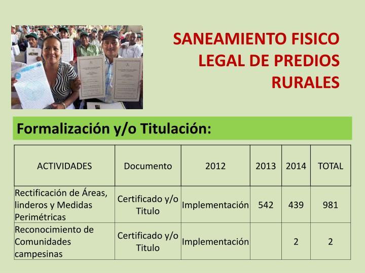 SANEAMIENTO FISICO LEGAL DE PREDIOS RURALES