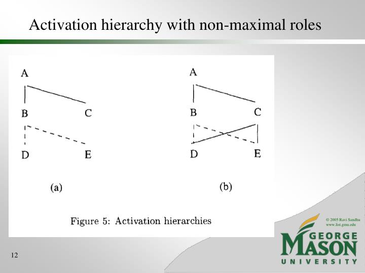 Activation hierarchy with non-maximal roles