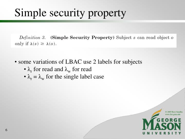 Simple security property