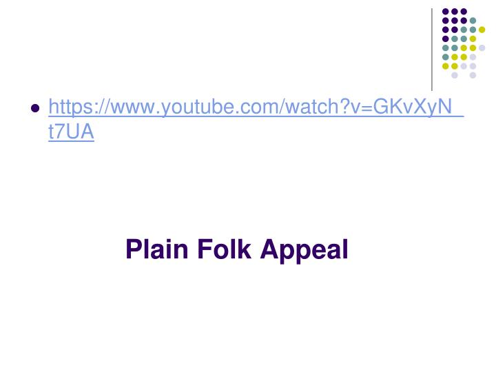 Plain Folk Appeal