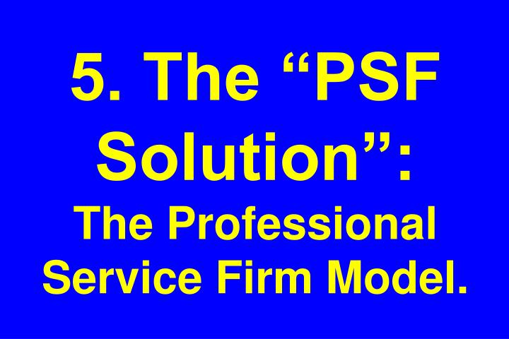 "5. The ""PSF Solution"":"