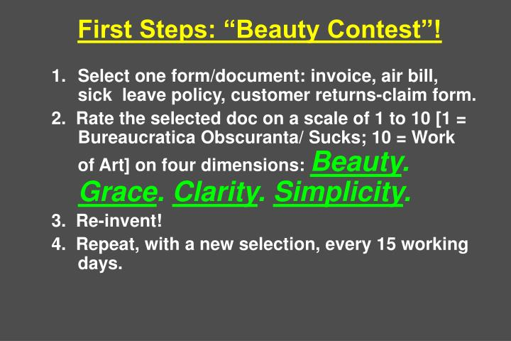 "First Steps: ""Beauty Contest""!"