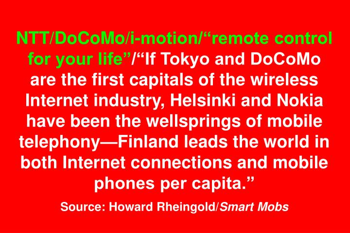 "NTT/DoCoMo/i-motion/""remote control for your life"""