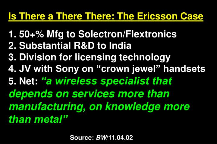 Is There a There There: The Ericsson Case