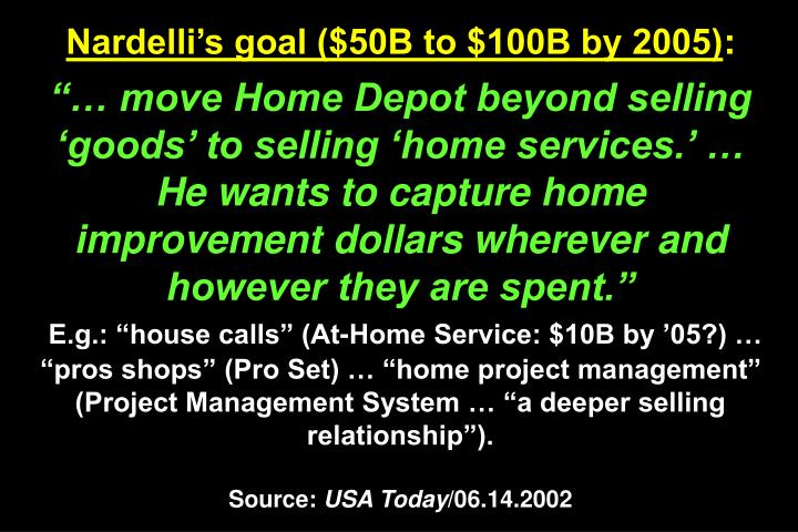 Nardelli's goal ($50B to $100B by 2005)