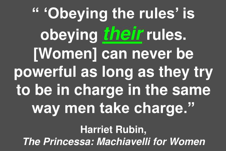 """ 'Obeying the rules' is obeying"