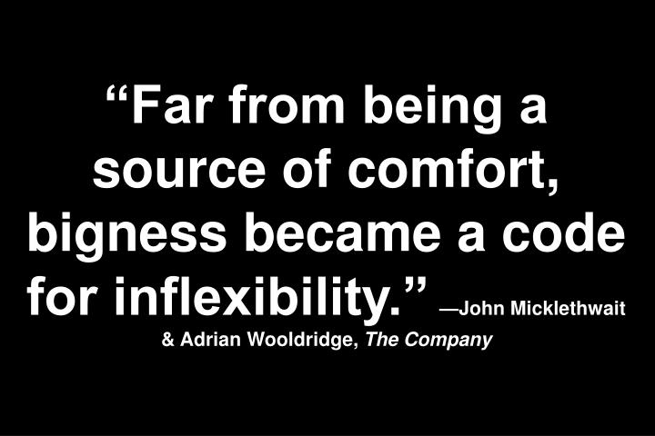 """Far from being a source of comfort, bigness became a code for inflexibility."""