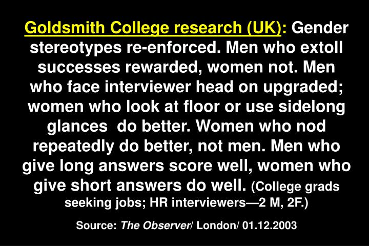 Goldsmith College research (UK)