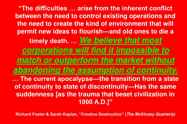 """The difficulties … arise from the inherent conflict between the need to control existing operations and the need to create the kind of environment that will permit new ideas to flourish—and old ones to die a timely death. …"
