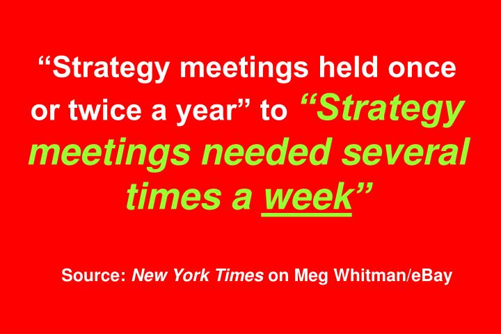 """Strategy meetings held once or twice a year"" to"