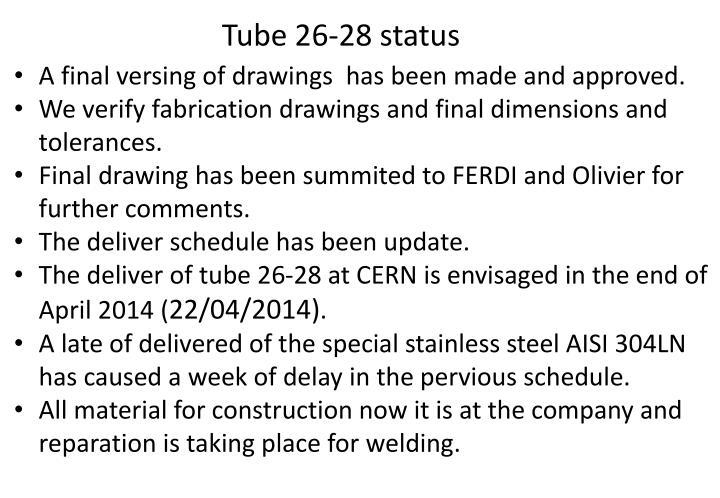 Tube 26-28 status