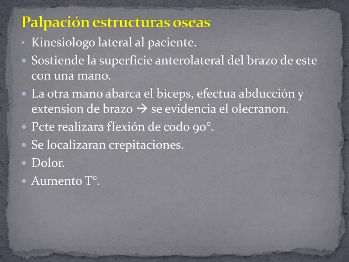 Palpación estructuras oseas