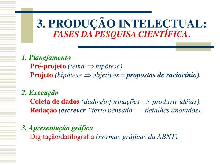 3. PRODUÇÃO INTELECTUAL:
