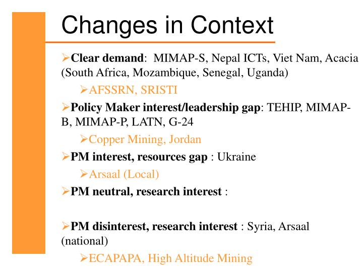 Changes in Context