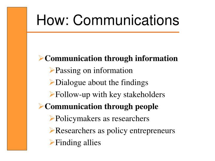 How: Communications