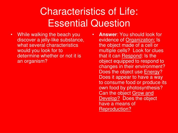 Characteristics of Life: