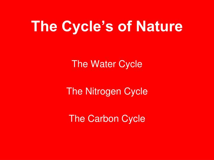 The Cycle's of Nature