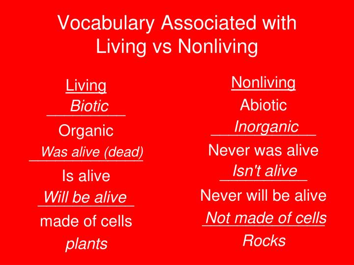 Vocabulary associated with living vs nonliving