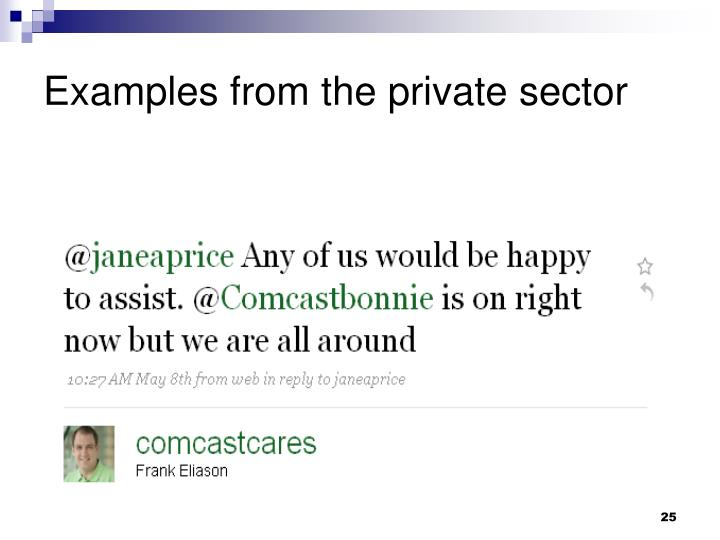 Examples from the private sector