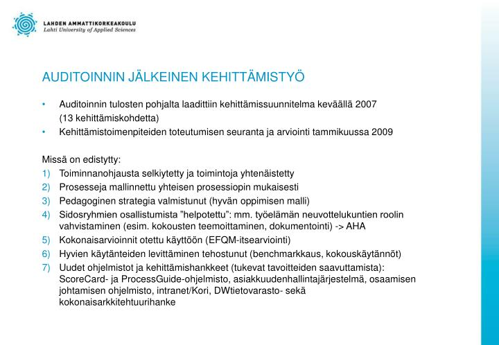 AUDITOINNIN JÄLKEINEN KEHITTÄMISTYÖ
