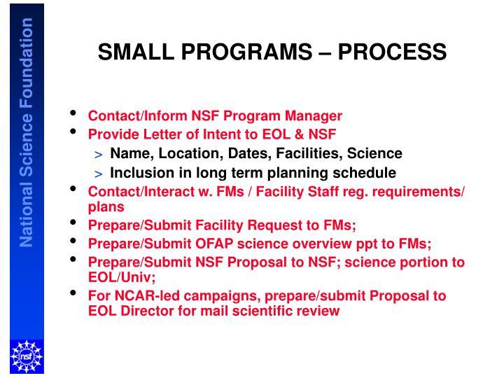 SMALL PROGRAMS – PROCESS