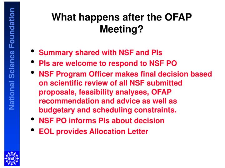 What happens after the OFAP Meeting?