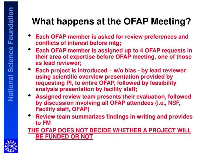 What happens at the OFAP Meeting?