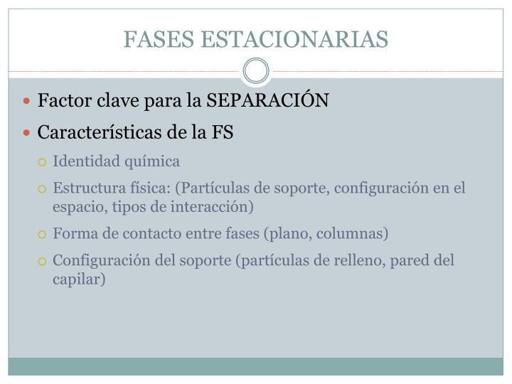 FASES ESTACIONARIAS