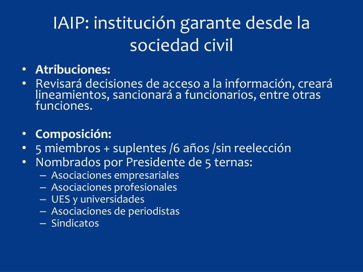 IAIP: institución garante desde la sociedad civil