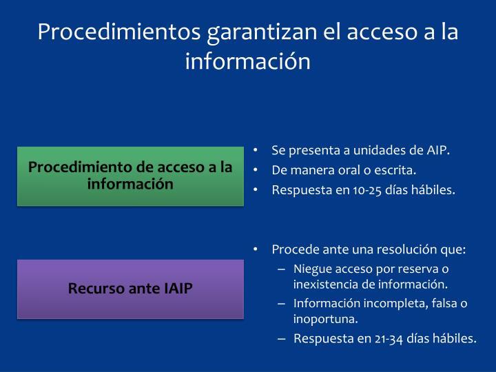 Procedimientos garantizan el acceso a la información
