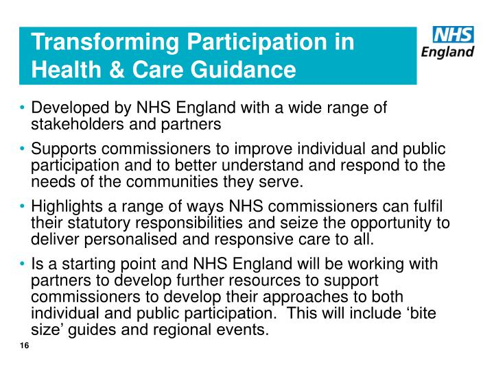 Transforming Participation in Health & Care Guidance