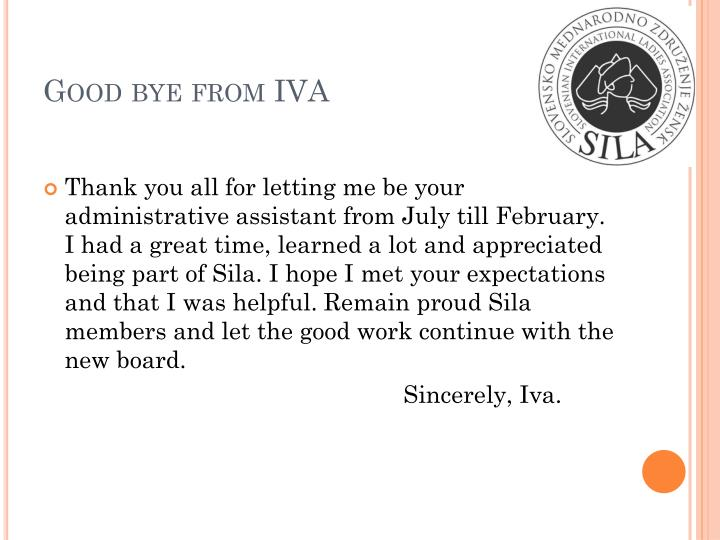 Good bye from iva