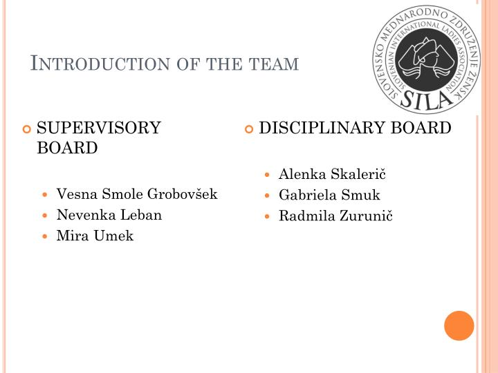 Introduction of the team