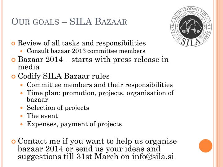 Our goals – SILA Bazaar