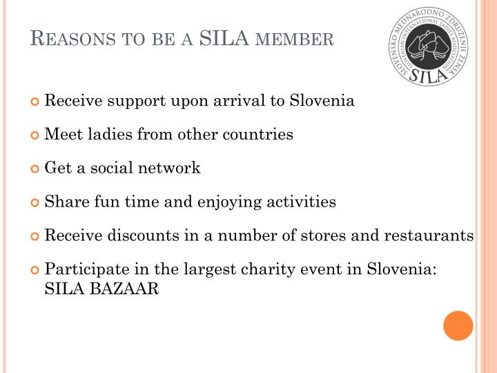 Reasons to be a SILA member