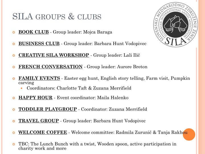 SILA groups & clubs