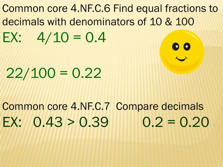 Common core 4.NF.C.6 Find equal fractions to decimals with denominators of 10 & 100