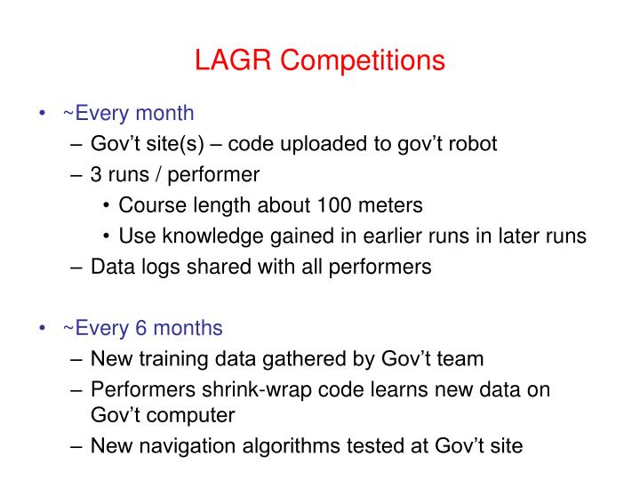 LAGR Competitions