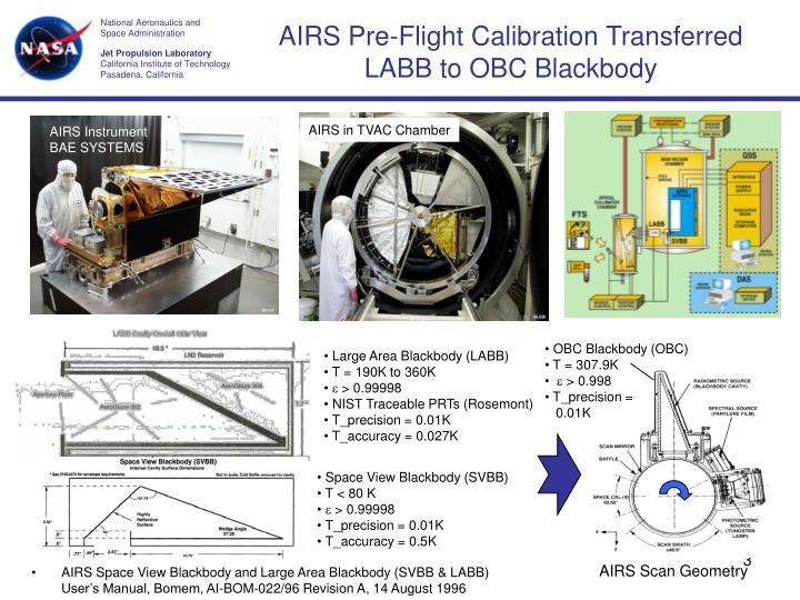 AIRS Pre-Flight Calibration Transferred LABB to OBC Blackbody