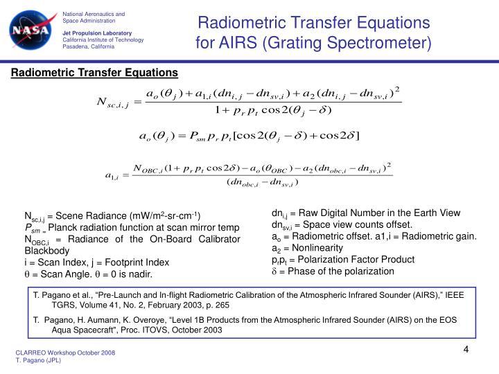 Radiometric Transfer Equations