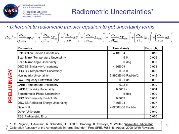Radiometric Uncertainties*