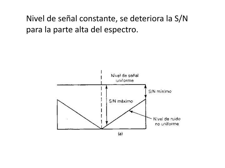 Nivel de señal constante, se deteriora la S/N para la parte alta del espectro.