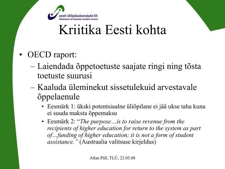 Kriitika Eesti kohta
