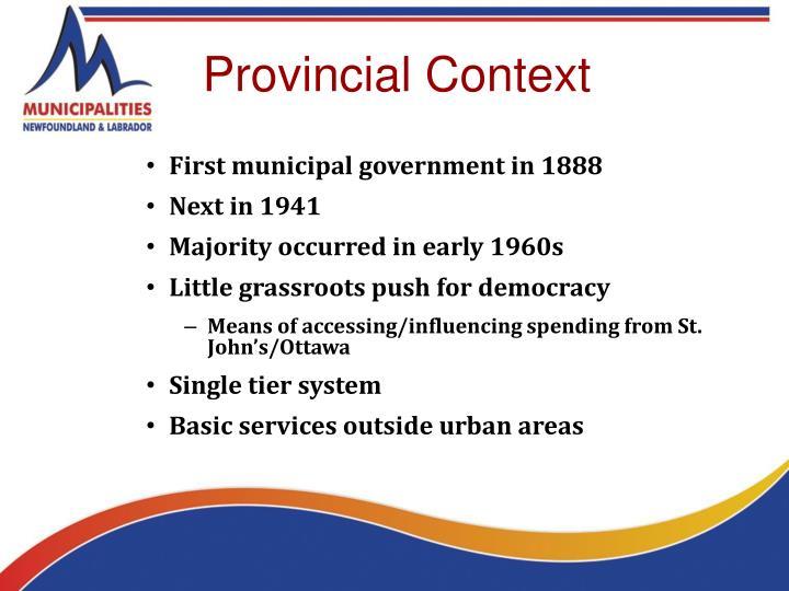 Provincial Context