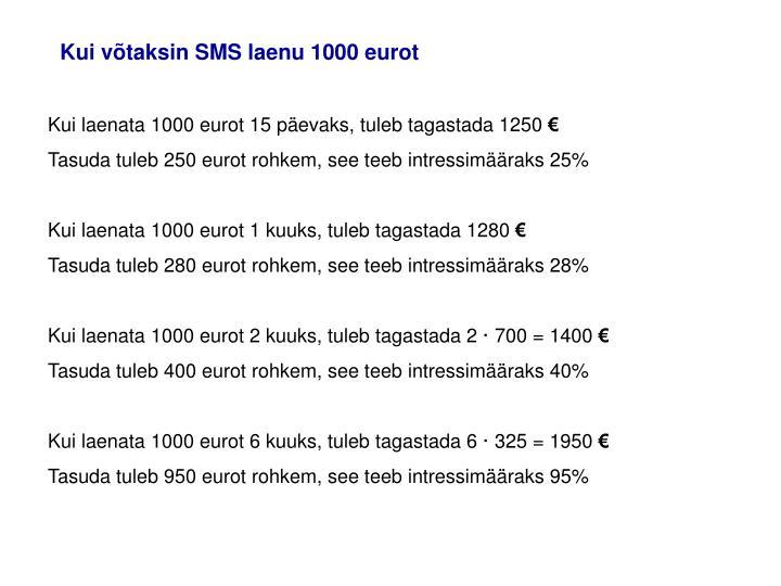 Kui võtaksin SMS laenu 1000 eurot