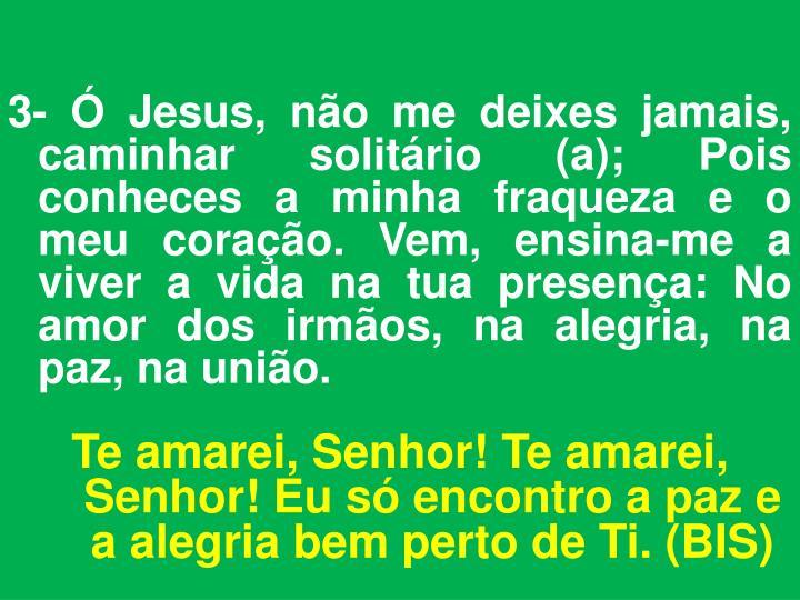 3- Ó Jesus, não me deixes jamais, caminhar solitário (a); Pois conheces a minha fraqueza e o meu coração. Vem, ensina-me a viver a vida na tua presença: No amor dos irmãos, na alegria, na paz, na união.